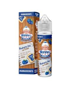 Nanna's Secrets Blueberry Jam On Toast 50ml Shortfill E-Liquid Bottle and Box