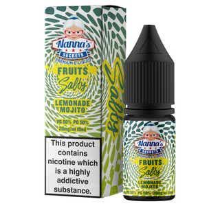 Nanna's Secrets Lemonade Mojito 10ml Nicotine Salt E-Liquid Bottle and Box