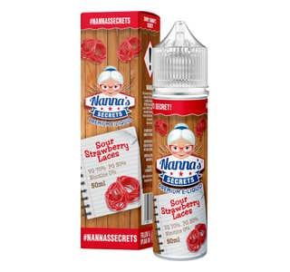 Nanna's Secrets Strawberry Sour Laces 50ml Shortfill E-Liquid Bottle and Box