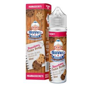 Nanna's Secrets Strawberry Cookie Butter 50ml Shortfill E-Liquid Bottle and Box
