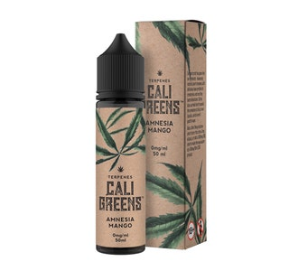 Cali Greens Amnesia Mango Terpenes 50ml Short Fill E-Liquid Bottle and Box