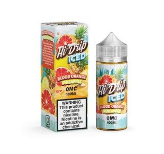 Hi Drip Iced Blood Orange Pineapple 100ml Short Fill E-Liquid Bottle and Box