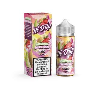 Hi Drip Honeydew Strawberry 100ml Short Fill E-Liquid Bottle and Box