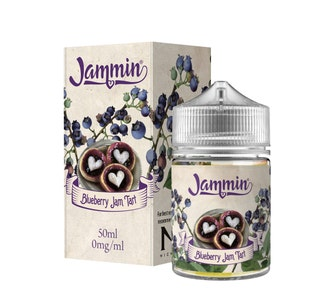Jammin Blueberry Jam Tart 50ml Short Fill E-Liquid Box and Stubby bottle