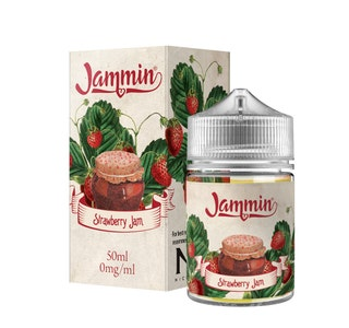 Jammin Strawberry Jam 50ml Short Fill E-Liquid Box and Stubby bottle