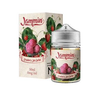 Jammin Strawberry Sorbet 50ml Short Fill E-Liquid Box and Stubby Bottle